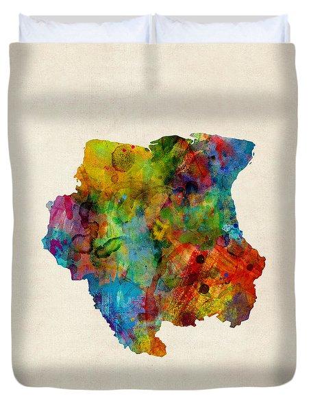 Suriname Watercolor Map Duvet Cover