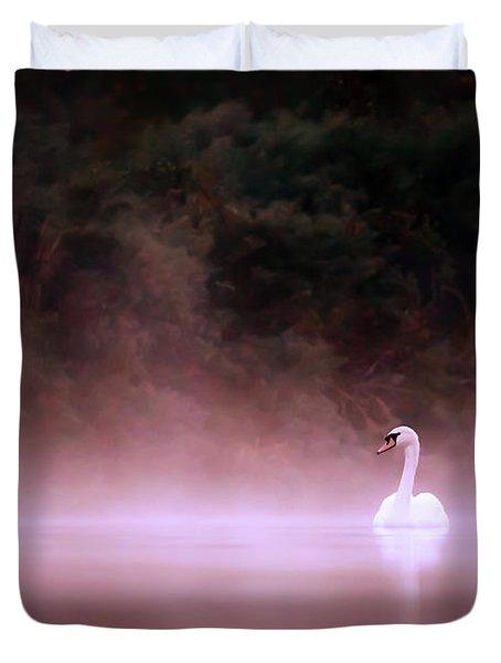 Swan In The Mist Duvet Cover