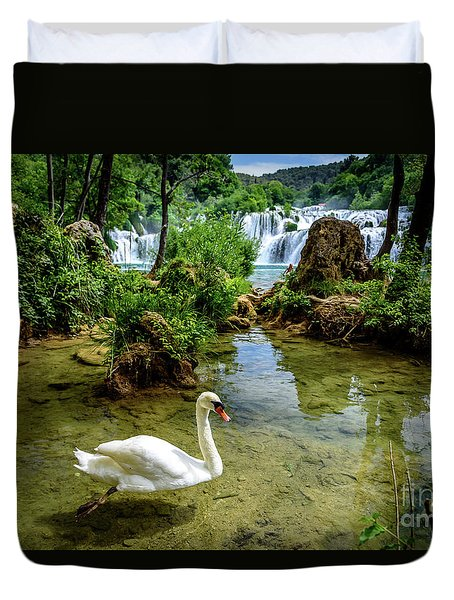Swan In The Waterfalls Of Skradinski Buk At Krka National Park In Croatia Duvet Cover