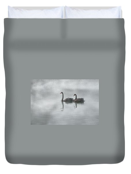 Duvet Cover featuring the photograph Swan Lake by Carolyn Dalessandro