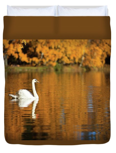 Swan On A Lake Duvet Cover by Teemu Tretjakov