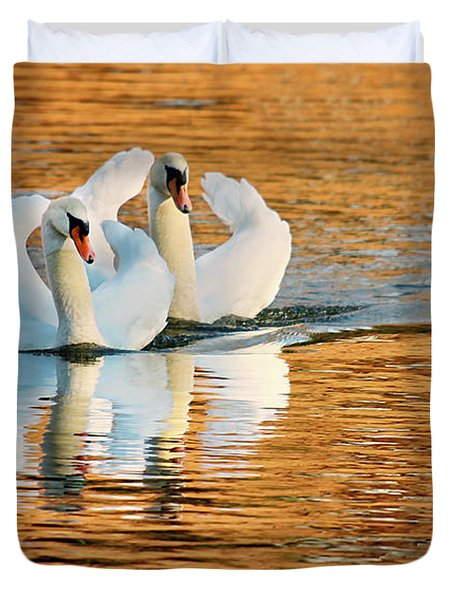 Duvet Cover featuring the photograph Swimming On Gold by Darren Fisher