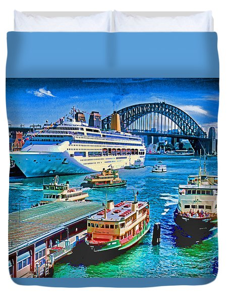 Sydney Quay Duvet Cover by Dennis Cox WorldViews