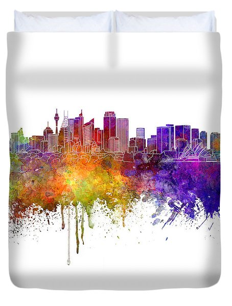 Sydney V2 Skyline In Watercolor Background Duvet Cover by Pablo Romero