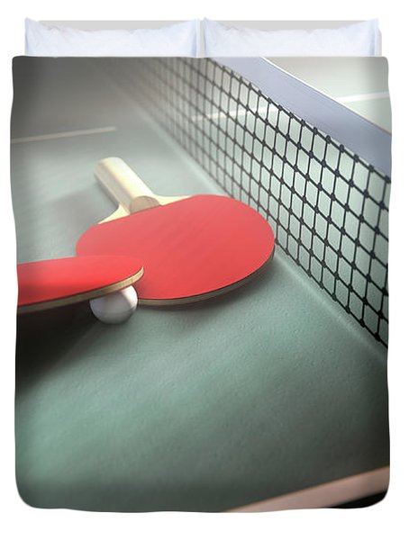 Table Tennis Table And Paddles Duvet Cover