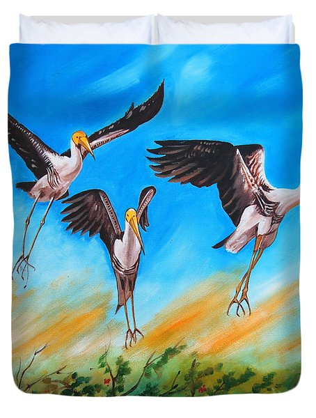 Duvet Cover featuring the painting Take Off by Ragunath Venkatraman