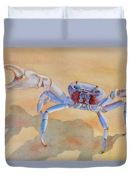 Duvet Cover featuring the painting Talk To The Claw by Judy Mercer