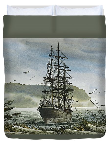 Duvet Cover featuring the painting Tall Ship Cove by James Williamson