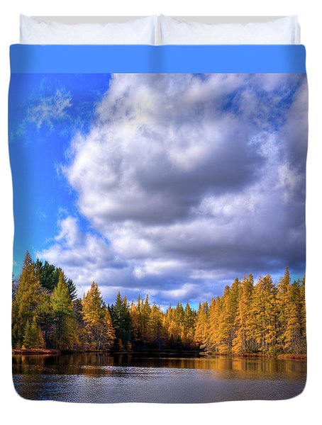 Duvet Cover featuring the photograph Tamaracks At Woodcraft Camp by David Patterson