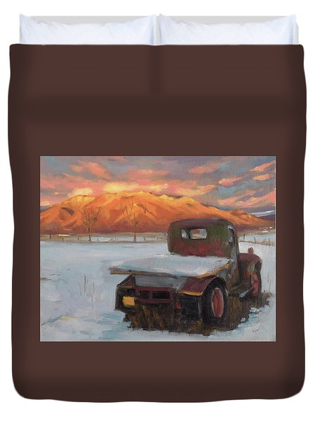 Taos Truck In The Snow Duvet Cover