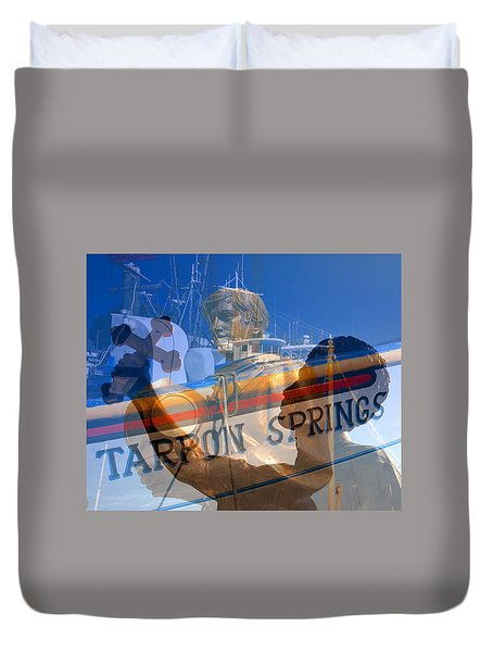 Duvet Cover featuring the photograph Tarpon Springs Florida Mash Up by David Lee Thompson