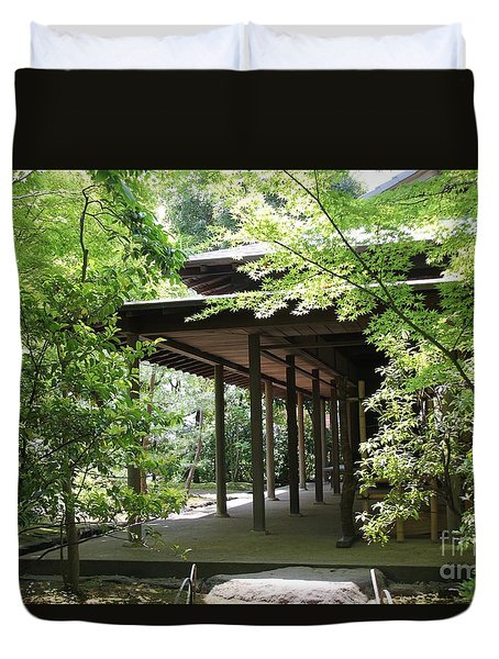 Duvet Cover featuring the photograph Tea House by Yumi Johnson