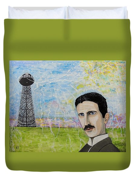 Tesla's Tower. Duvet Cover