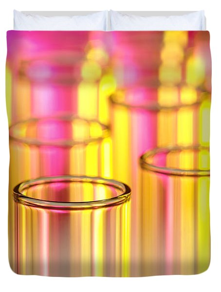 Test Tubes In Science Lab Duvet Cover by Olivier Le Queinec