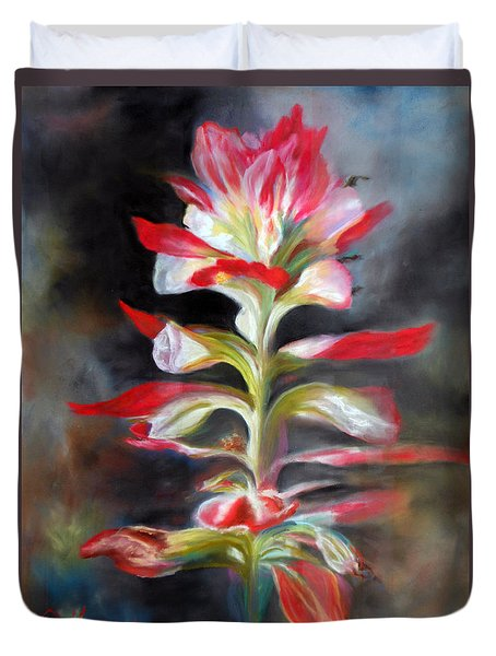 Duvet Cover featuring the pastel Texas Indian Paintbrush by Karen Kennedy Chatham
