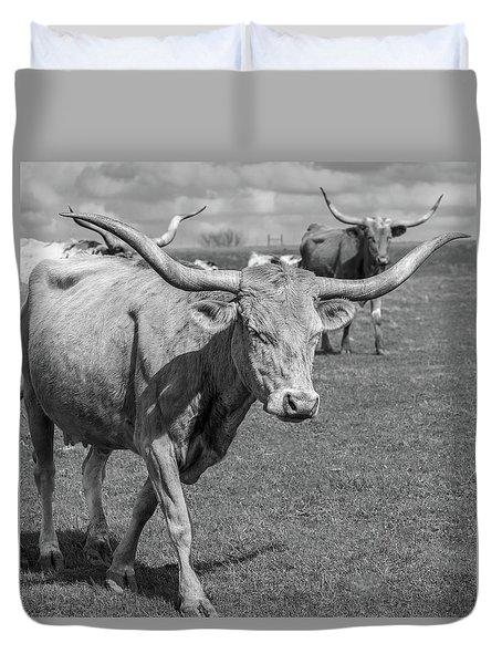 Duvet Cover featuring the photograph Texas Longhorns by Robert Bellomy