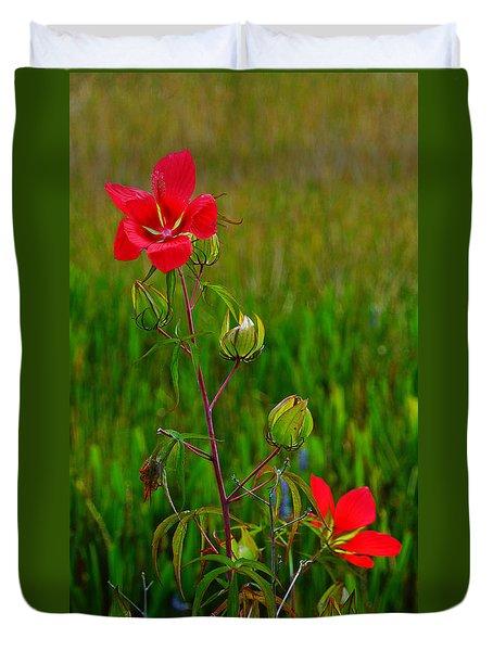 Texas Star Hibiscus Duvet Cover