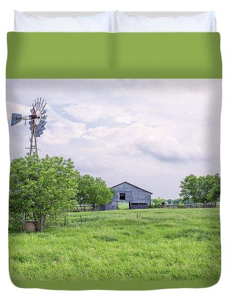 Texas Windmill Duvet Cover