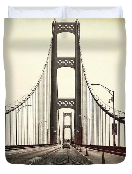 Textured Mackinac Bridge Duvet Cover