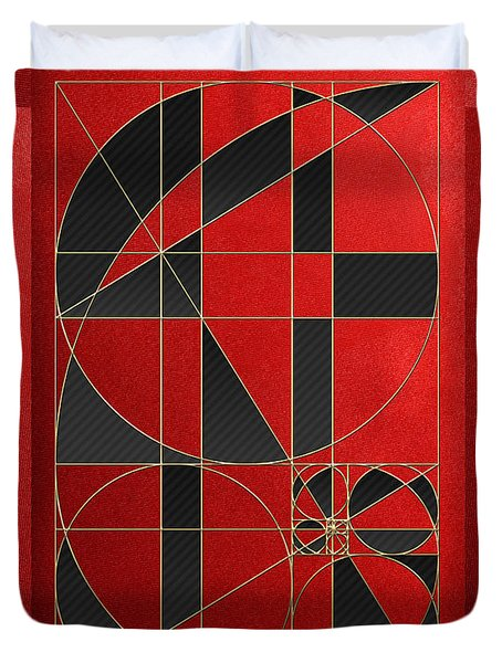 The Alchemy - Divine Proportions - Black On Red Duvet Cover