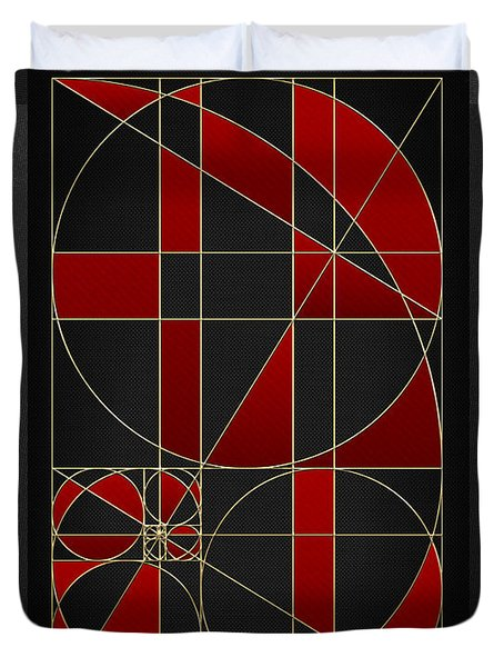 The Alchemy - Divine Proportions - Red On Black Duvet Cover