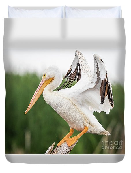 Duvet Cover featuring the photograph The Amazing American White Pelican  by Ricky L Jones