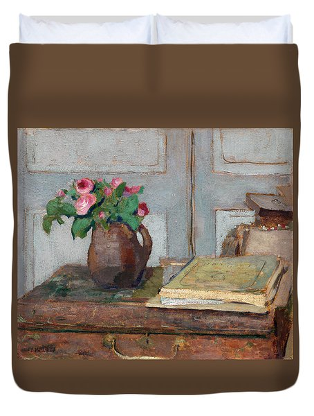 The Artist's Paint Box And Moss Roses Duvet Cover