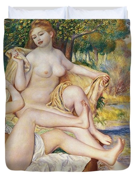 The Bathers Duvet Cover by Pierre Auguste Renoir