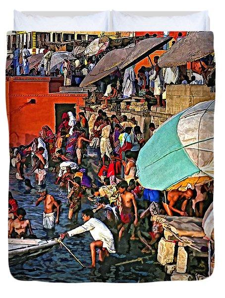 The Bathing Ghats Duvet Cover by Steve Harrington