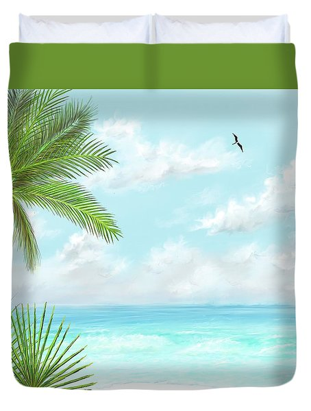 Duvet Cover featuring the digital art The Beach by Darren Cannell