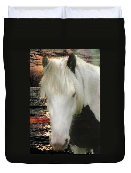 The Beautiful Face Of A Gypsy Vanner Horse Duvet Cover