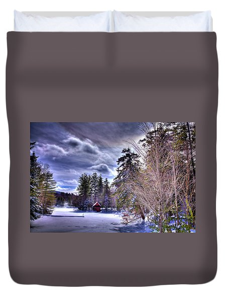 Duvet Cover featuring the photograph The Beaver Brook Boathouse by David Patterson