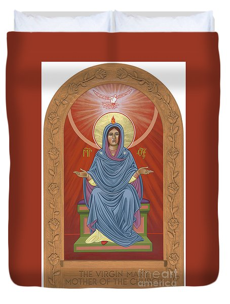 Duvet Cover featuring the painting The Blessed Virgin Mary Mother Of The Church by William Hart McNichols
