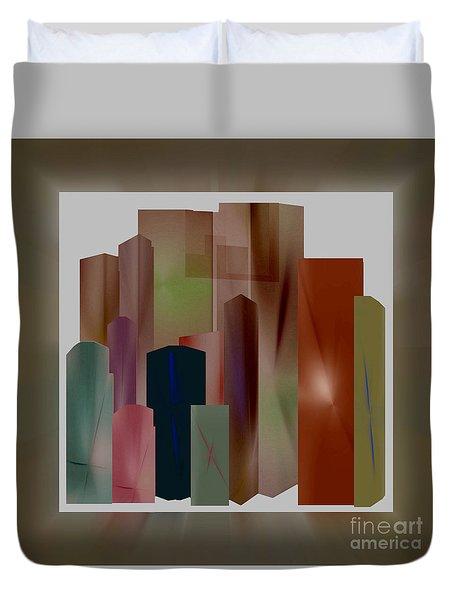 Duvet Cover featuring the digital art The Block by John Krakora
