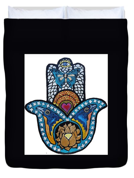 The Blue Bunting Hamsa Duvet Cover