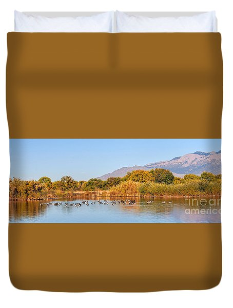 Duvet Cover featuring the photograph The Bosque by Gina Savage