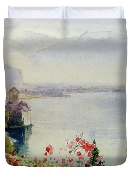 The Castle At Chillon Duvet Cover by John William Inchbold