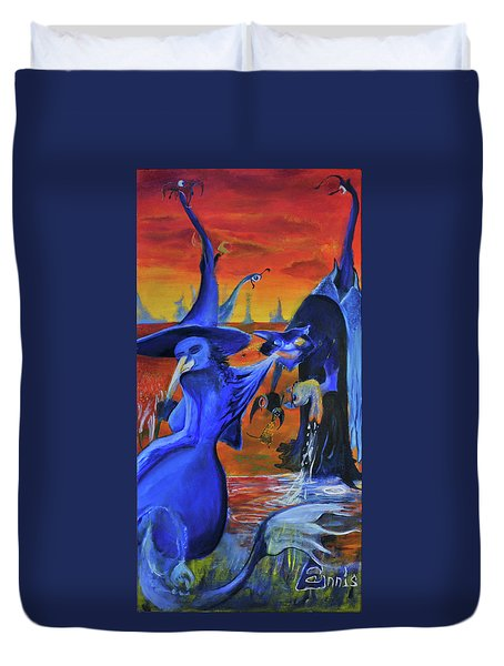 The Cat And The Witch Duvet Cover