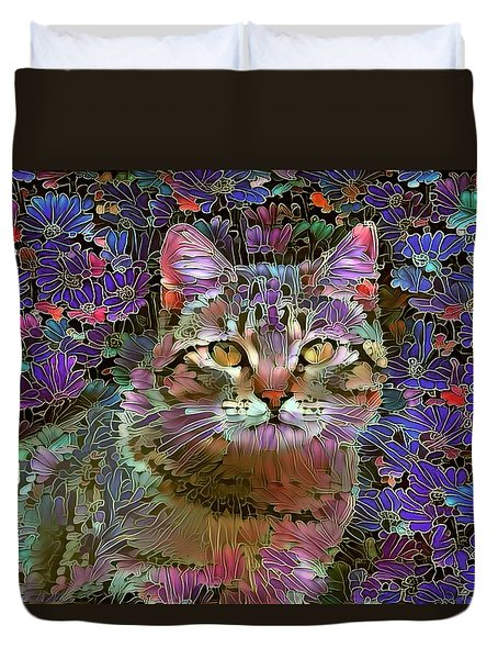 The Cat Who Loved Flowers 2 Duvet Cover
