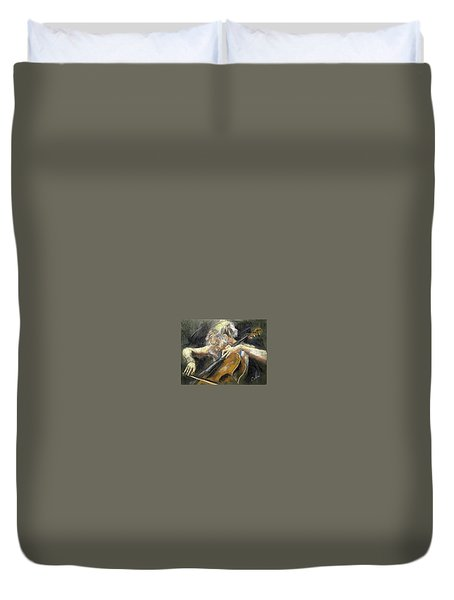 Duvet Cover featuring the painting The Cellist by Debora Cardaci