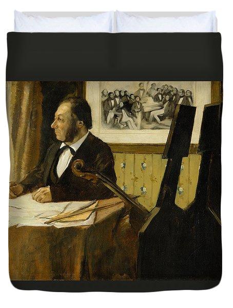 The Cellist Pilet Duvet Cover by Edgar Degas