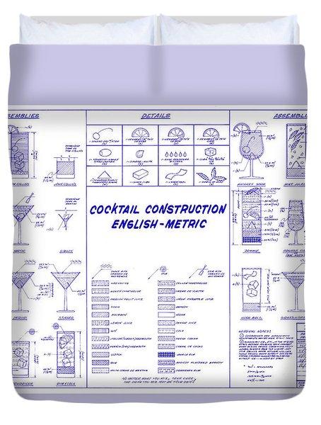 The Cocktail Construction Blueprint Duvet Cover by Jon Neidert
