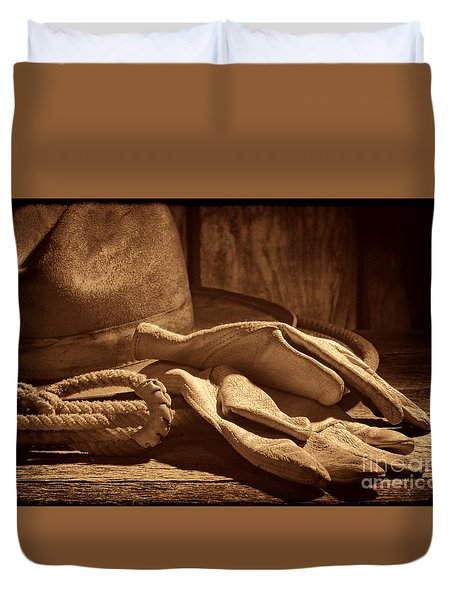 The Cowboy Gloves Duvet Cover by American West Legend By Olivier Le Queinec
