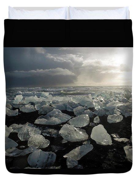 Duvet Cover featuring the photograph The Diamond Beach, Jokulsarlon, Iceland by Dubi Roman