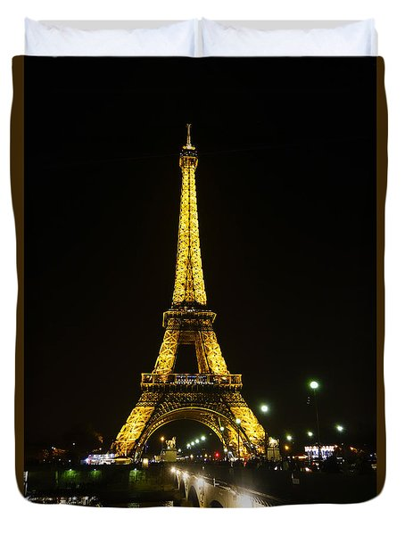 The Eiffel Tower At Night Illuminated, Paris, France. Duvet Cover