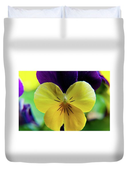 Duvet Cover featuring the photograph The Face Of A Pansy by Brenda Jacobs