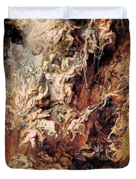 Duvet Cover featuring the painting The Fall Of The Damned by Peter Paul Rubens