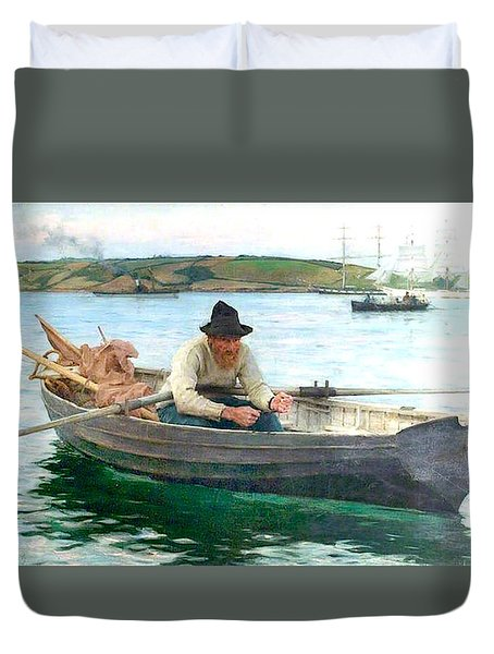Duvet Cover featuring the painting The Fisherman by Henry Scott Tuke