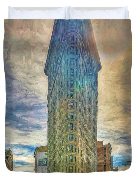 The Flatiron Building - Photopainting Duvet Cover