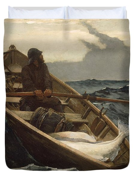 Duvet Cover featuring the painting The Fog Warning - 1885 by Winslow Homer